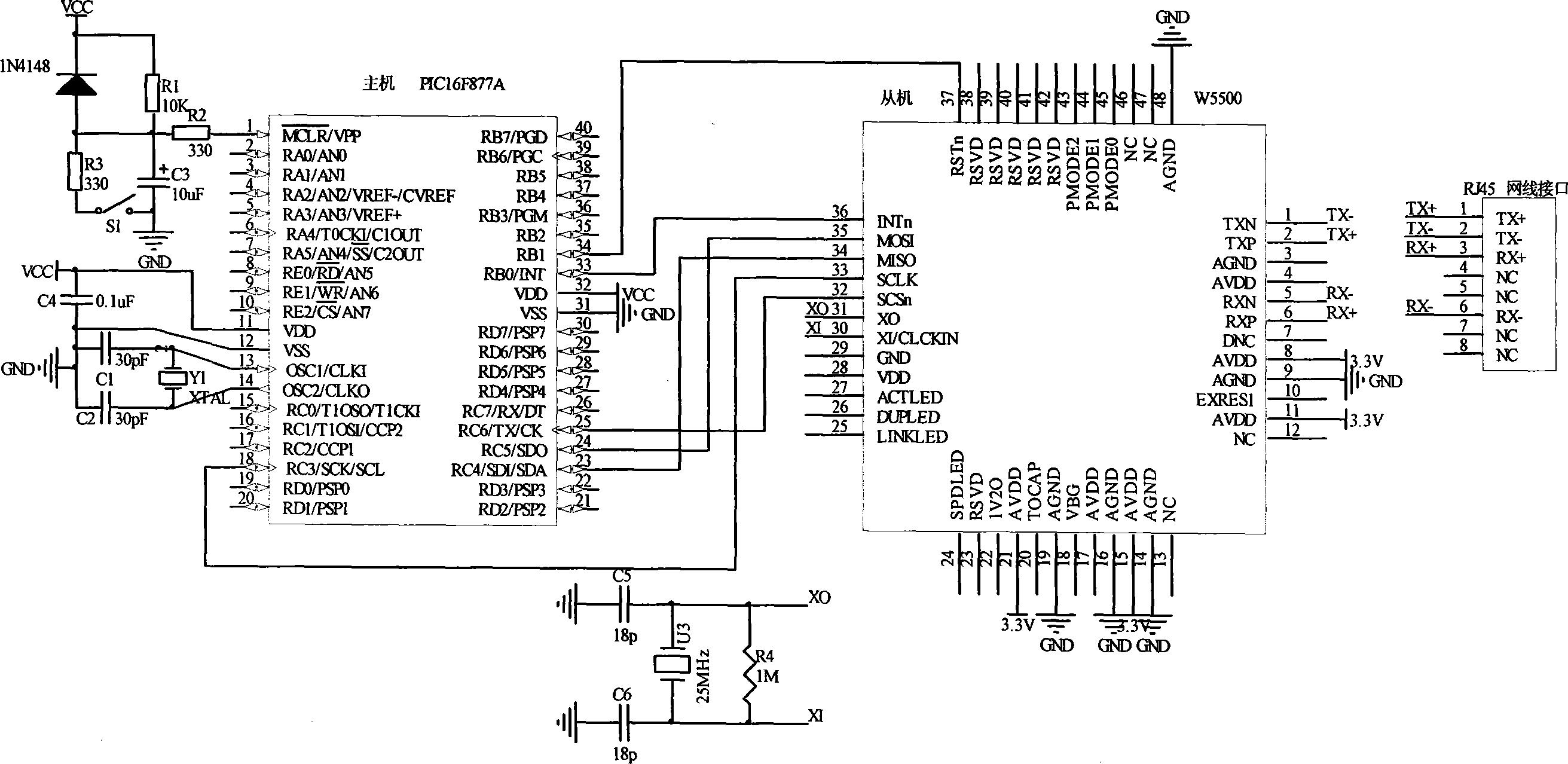 权利要求书   1.一种污水处理厂TCP/IP局域网自动控制系统,其特征在于,PIC16F877A控制器通 过SPI通信协议实现通信芯片W5500实时交换数据,PIC16F877A控制器作为SPI通信的 主控,当控制器在独立实现本终端控制的数据采集和控制指令输出时,PIC16F877A控制器 实时将相关寄存器的数据通信芯片W5500传送并读取局域网上传送来的数据,通信芯片 W5500将数据以TCP/IP协议输送到局域网上,符合数据地址要求的控制器接收到该数据作 出相应的动作响应,实现终端机的数字和模拟